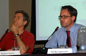 Robert Hecht and Till Barnighausen on a panel at the IAEN Pre-Conference
